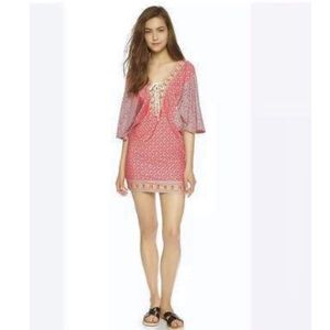 Nanette Lepore Coral Draped Cover-up Tunic